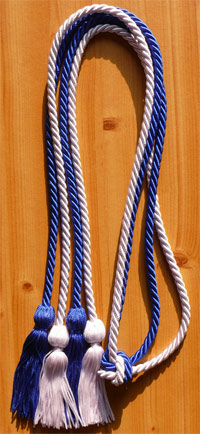 Royal Blue & White Double Tied Graduation Cords