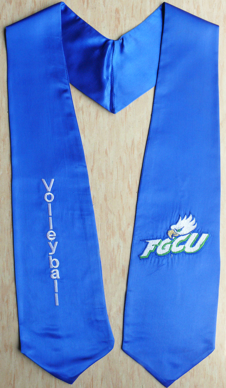 Royalblue Twoside01 Logo Embroidery Graduation Stole