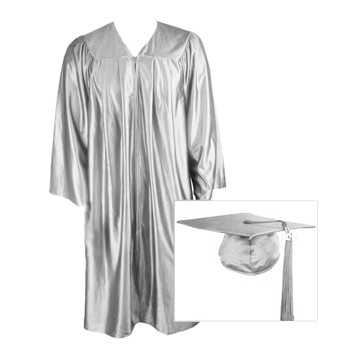 Silver Graduation Cap, Gown and Tassel