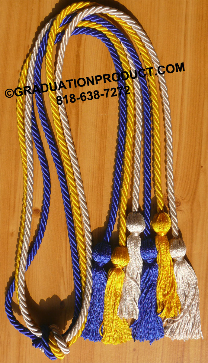 Silver Royal Blue And Gold Triple Graduation Honor Cords