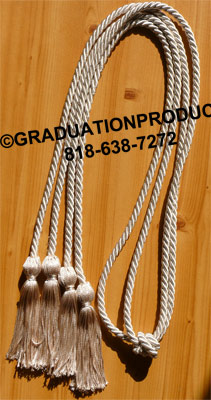 Silver Double Tied Graduation Cords