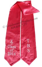 Hot Pink Two Side Embroidered Graduation Stole