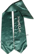 Dark Green  One Side Embroidered Graduation Stole