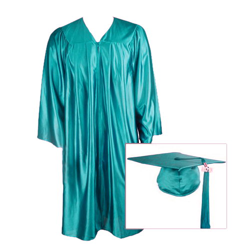 Teal Graduation Cap, Gown and Tassel