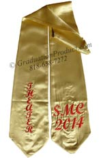 Old Gold Two Side Embroidered Graduation Stole