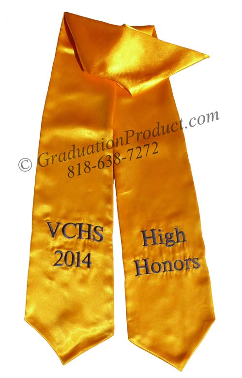 Vchs High Honors Gold Graduation Stole