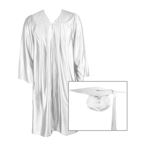 White Graduation Cap, Gown and Tassel