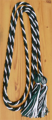 White, Black and Dark Green Intertwined Graduation Honor Cord