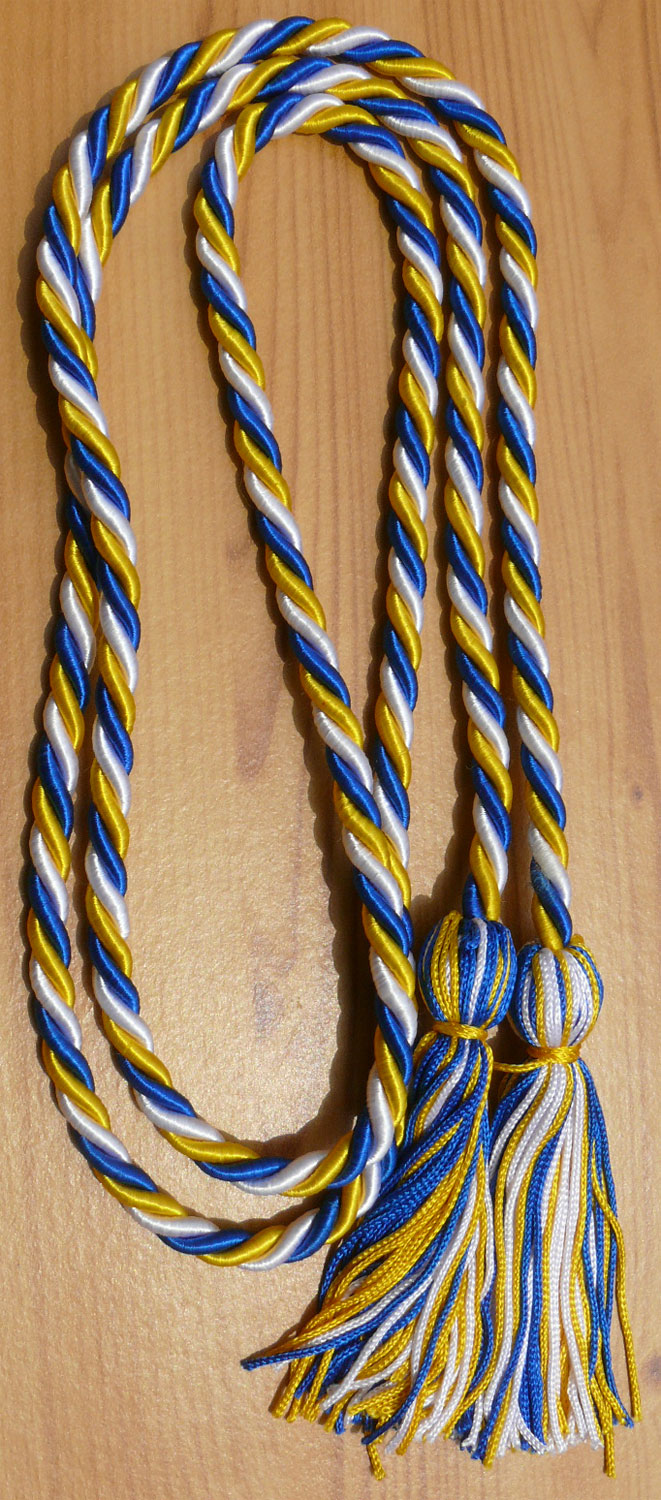 White, Gold and Royal Blue Intertwined Graduation Honor Cord