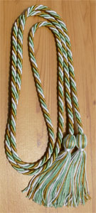 White, Special Gold and Nile Green Intertwined Graduation Honor Cord