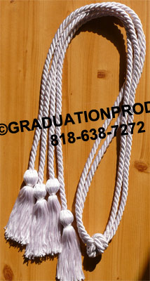 White Double Tied Graduation  Honor Cords