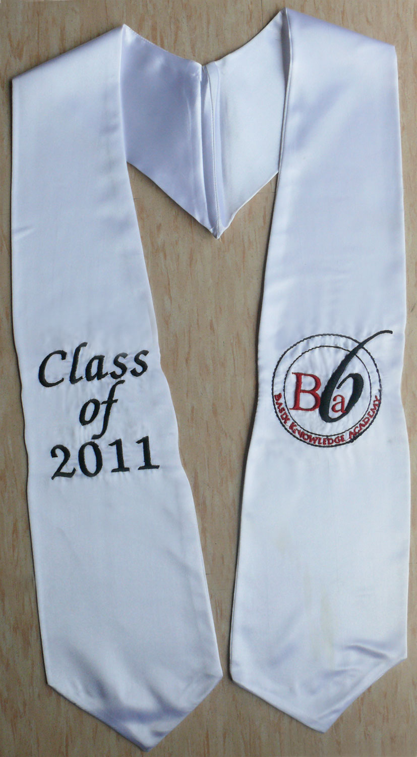 White Twoside Logo Embroidery Graduation Stole