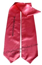 Hot Pink One Side Embroidered Graduation Stole